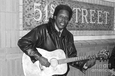 Black Jacket Photograph - 51st Street Subway Musician by John Telfer