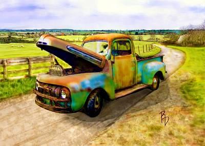 52 Ford F3 Pick-up Truck Art Print by Ric Darrell