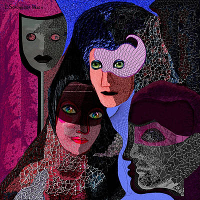 Digital Art - 528 -   Masks   by Irmgard Schoendorf Welch