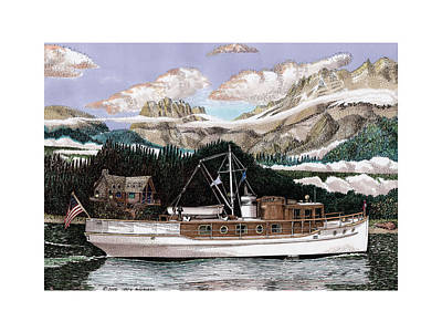 Sound Drawing - 53 Foot Classic Yacht North To Alaska by Jack Pumphrey