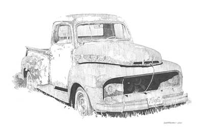 Ford Truck Drawing - '53 Ford by Paul Shafranski