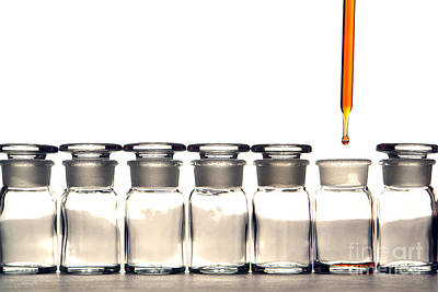 Photograph - Laboratory Experiment In Science Research Lab by Science Research Lab By Olivier Le Queinec