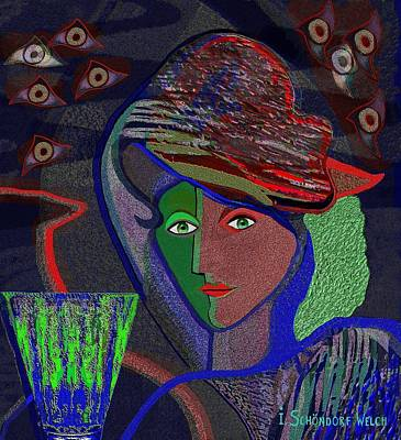 Digital Art - 532 - Lady  With Green Drink by Irmgard Schoendorf Welch