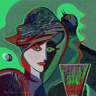 Painting - 536 - Green Drink With Bird by Irmgard Schoendorf Welch