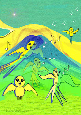Painting - 538 - Young Birds Flying by Irmgard Schoendorf Welch
