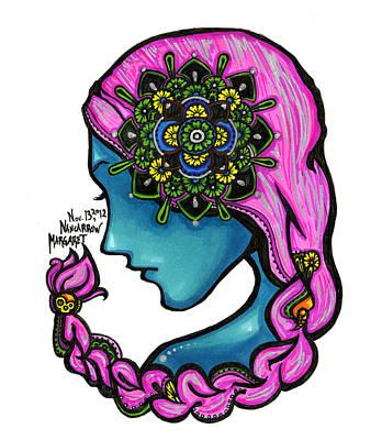 Sharpie Art Drawing - 54 - Flowers In My Hair by Maggie Nancarrow