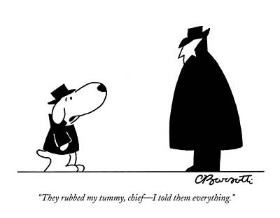Dog Drawing - They Rubbed My Tummy by Charles Barsotti