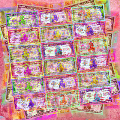 Currency Mixed Media - 540 Million Dollars Red Pastel by Tony Rubino