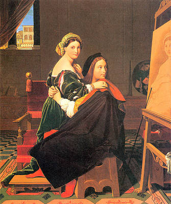 Painting - Raphael And The Fornarina by Jean Auguste Domiinque Ingres