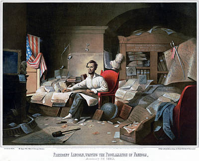 Justice Painting - Abraham Lincoln (1809-1865) by Granger