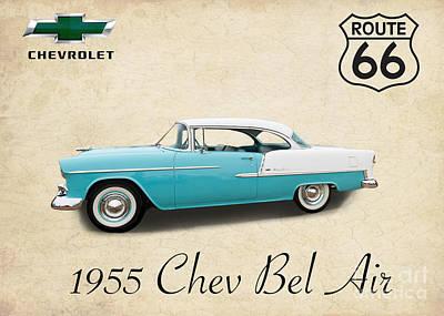 55 Chev Bel Air Art Print by Jim  Hatch