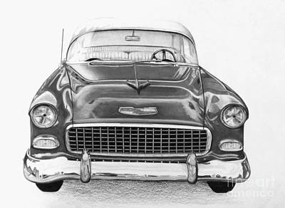 Iconic Car Drawing - 55 Chevy Black And White by David Neace