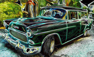 55 Chevy Color Wagan Art Print