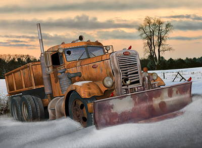 Digital Art - '55 Pete Snowplow by Stuart Swartz