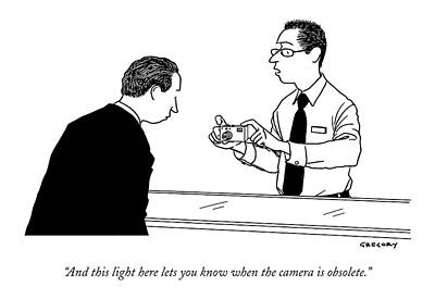 Consumerism Drawing - And This Light Here Lets You Know When The Camera by Alex Gregory