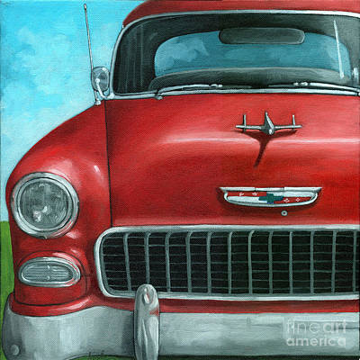55' Vintage Red Chevy Art Print by Linda Apple