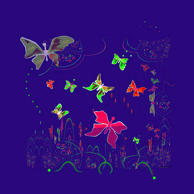 Painting - 558 - Shining Butterflies   by Irmgard Schoendorf Welch