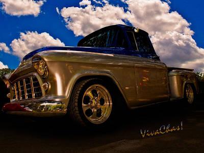 56 Chevy Pickup B4 Sundown Print by Chas Sinklier