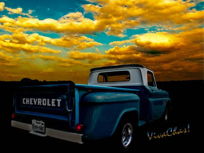 56 Chevy Truck And The Lake Canyon Sunset Art Print