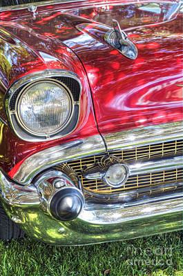 Photograph - 56 Classic Chevy Red Chrome Bumper by David Zanzinger
