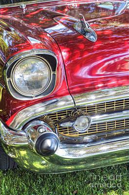 Photograph - 56 Classic Chevy Red Chrome Bumper by David Zanzinger