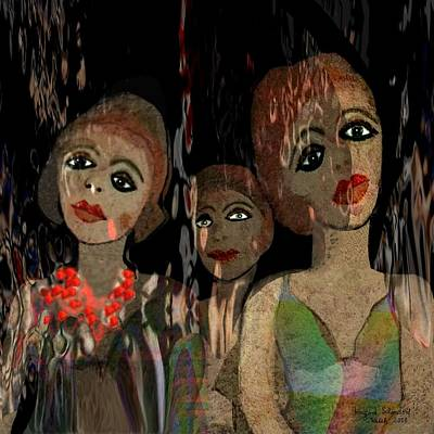Digital Art - 562 - Three Young Girls   by Irmgard Schoendorf Welch