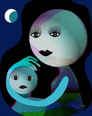 Hugs Digital Art - 569 - Moonmotherchild by Irmgard Schoendorf Welch
