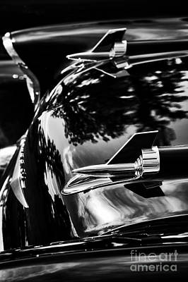 57 Chevrolet Hood Rockets Monochrome Art Print by Tim Gainey