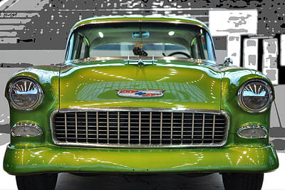 Fuzzy Digital Art - '57 Chevy Bel Air Show Car In Lime Green by Paulette B Wright