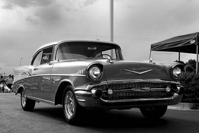 57 Chevy Bel-aire In Bw Art Print by Don Durante Jr