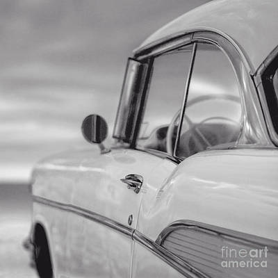 Two Tone Photograph - 57 Chevy Belair At The Beach by Edward Fielding
