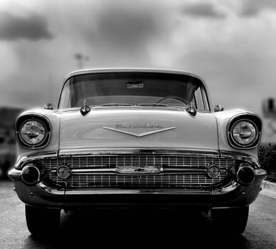 57 Chevy Full Frontal In Bw Art Print by Don Durante Jr