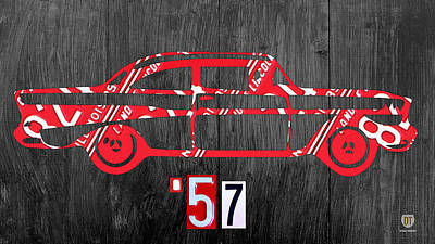 Usa Mixed Media - 57 Chevy License Plate Art by Design Turnpike