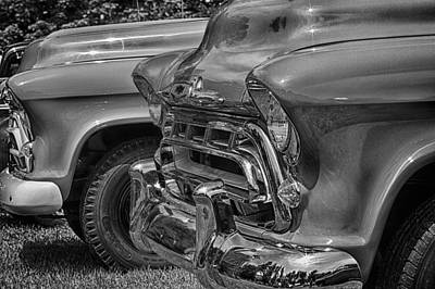 Photograph - 57 Chevy Pickups In Black N White by Jeff Sinon