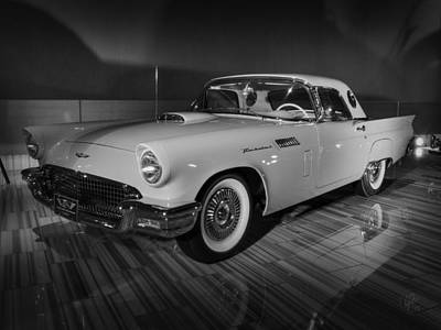 Photograph - '57 Ford Thunderbird 001 Bw by Lance Vaughn