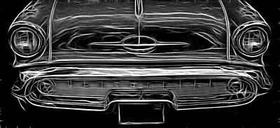 Photograph - 57 Olds Black And White by Wes and Dotty Weber
