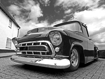 57 Stepside Chevy In Black And White Print by Gill Billington