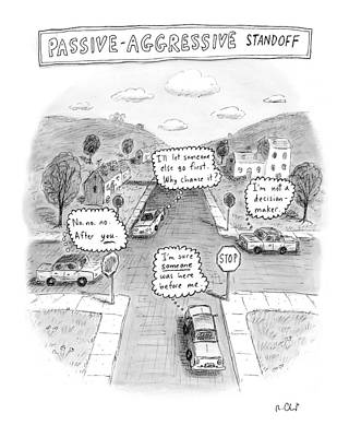 Stop Sign Drawing - Passive-aggressive Standoff by Roz Chast