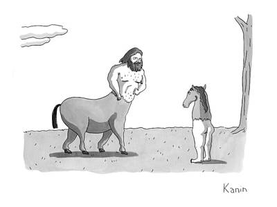 Centaur Drawing - New Yorker September 7th, 2009 by Zachary Kanin