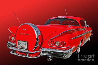58 Chev Impala Art Print by Jim  Hatch