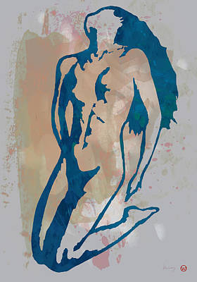 Abstract Pop Drawing - Nude Pop Stylised Art Poster by Kim Wang