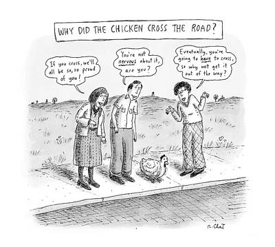 Sidewalk Drawing - New Yorker September 15th, 2008 by Roz Chast