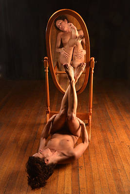 Photograph - 5806 Nude On Wood Floor Before Mirror  by Chris Maher