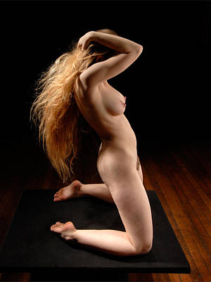 Photograph - 5808 Kneeling Woman Nude With Long Hair by Chris Maher