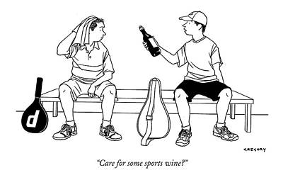 Alcohol Drawing - Care For Some Sports Wine? by Alex Gregory