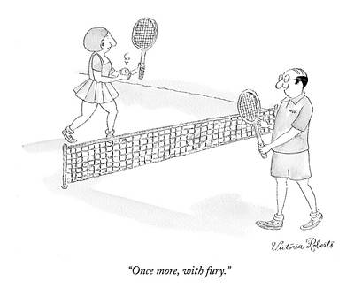 Tennis Drawing - Once More, With Fury by Victoria Roberts