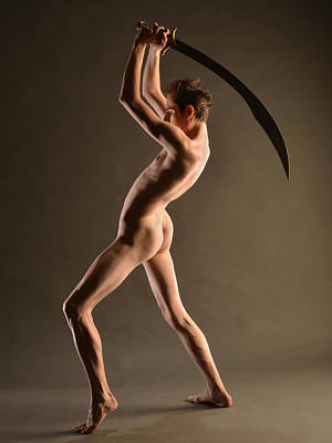 Photograph - 5989 Nude Masculine Beauty Slim Man With Sword  by Chris Maher