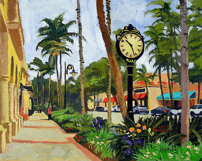 Clock Painting - 5th Avenue Naples Florida by Christine Hopkins