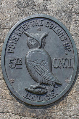 5th Infantry Regiment Photograph - 5th Ohio Owl Marker Gettysburg by Randy Steele
