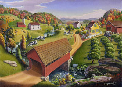 Old North Bridge Painting - 5x7 Greeting Card Covered Bridge Appalachian Landscape  by Walt Curlee